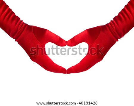 Female hands in red gloves shows a heart, isolated over white. Series. - stock photo