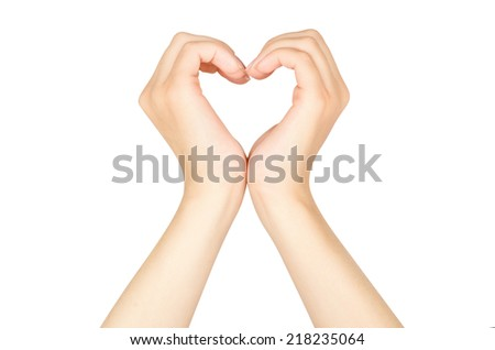Female hands in the form of heart isolated on white background - stock photo