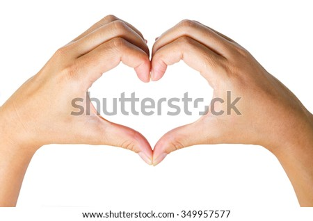 Female hands in the form of  heart isolated on white background save clipping path.