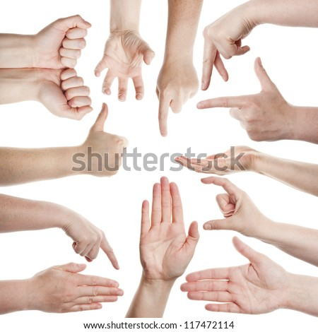 Female hands isolated on white background - stock photo
