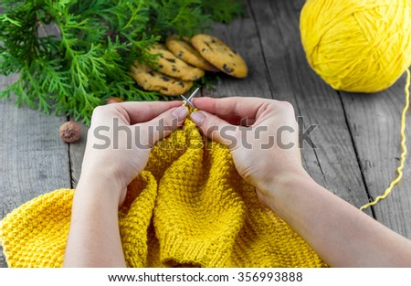 Female hands knitting yellow woolen sweater. Homemade chocolate chip cookies with thuja branches on wooden background - stock photo