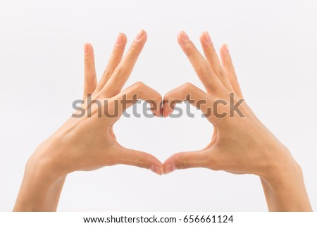 Female hands on a white background. Gestures.