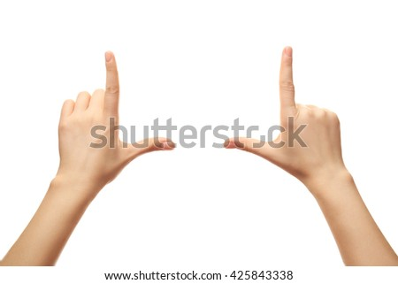 Female hands on white background - stock photo