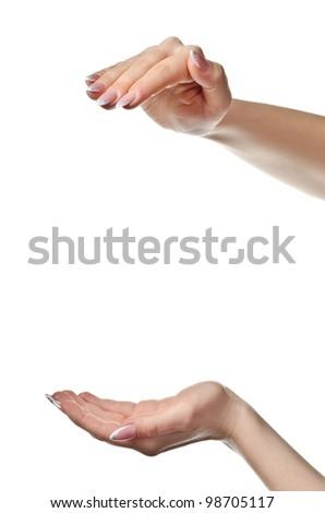 Female hands open. Isolated on white background