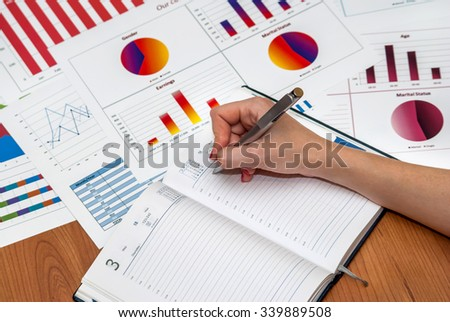 female hands over financial charts in the office