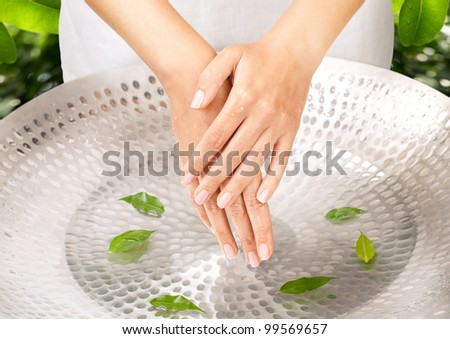 Female hands over sink with green leaves green background behind