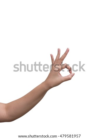 Female hands showing OK sign isolated on white background