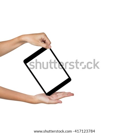 Female hands shows her tablet computer screen isolated on white, blank screen - stock photo