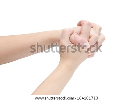 female hands the isolated on white background