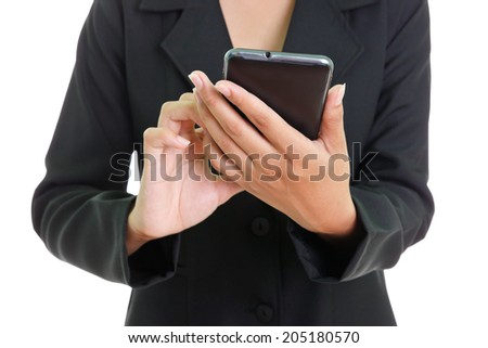 Female hands touching digital tablet