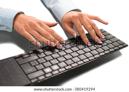 Female hands typing text. A few more words. Today's thought expression. Watch your language. - stock photo