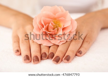 Female hands with brown manicure holding flower on fabric background