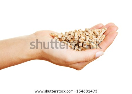 Female hands with many wood pellets with fuel value