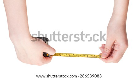 female hands with measuring tape isolated on white background