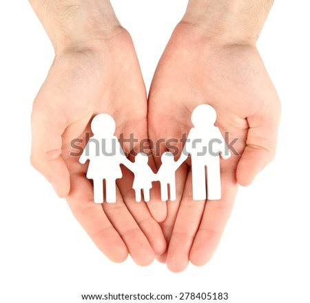 Female hands with paper family isolated on white