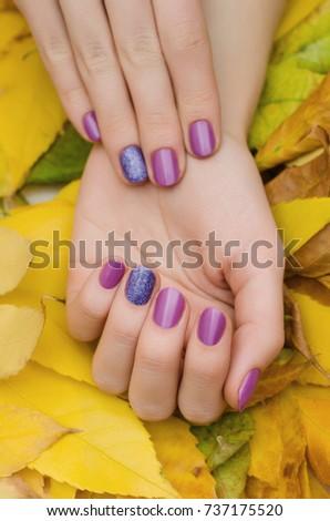 Female hands purple glitter nail design stock photo 737175520 female hands with purple glitter nail design prinsesfo Image collections