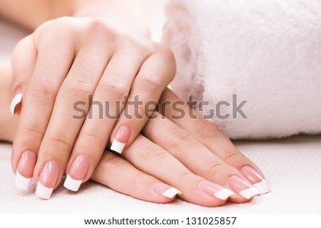 female hands with towel