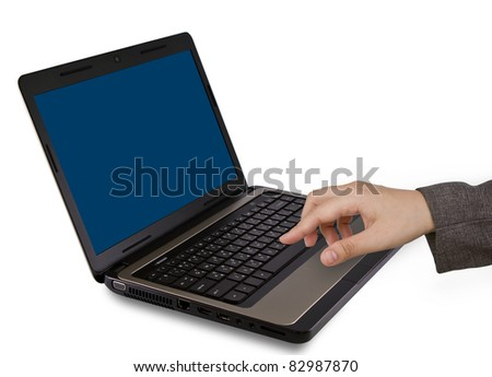 Female hands writing on laptop