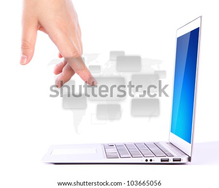 Female hands writing on laptop with application icons