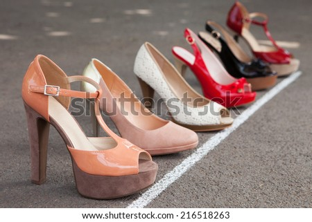 Female high heel shoes on the start line
