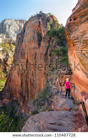 Female hiking Angel's landing Zion National Park model Bodil Joranli - stock photo