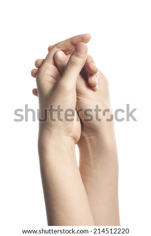 Female hold two own hands