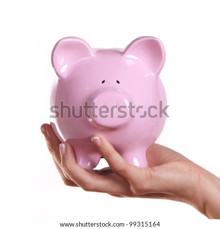 Female holding a pink piggy bank - stock photo