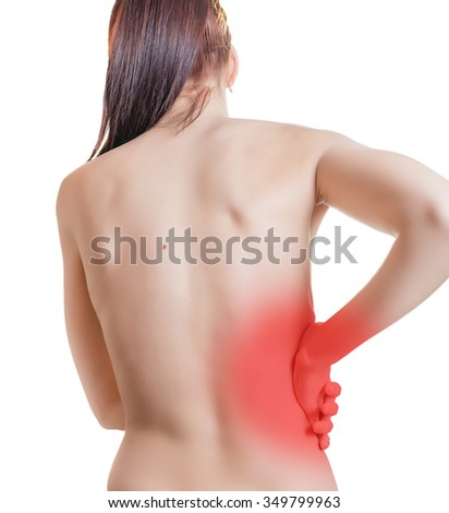 Female holding hand to section of kidney. Isolated on white.