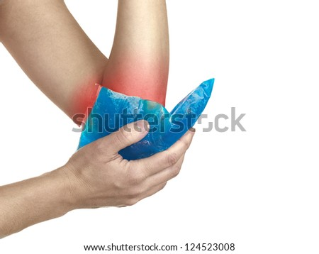 Female holding ice gel pack on elbow. Medical concept photo. Isolation on a white background. Color Enhanced skin with read spot indicating location of the pain. - stock photo