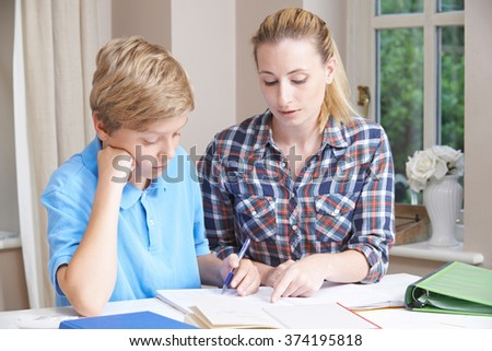 Female Home Tutor Helping Boy With Studies - stock photo