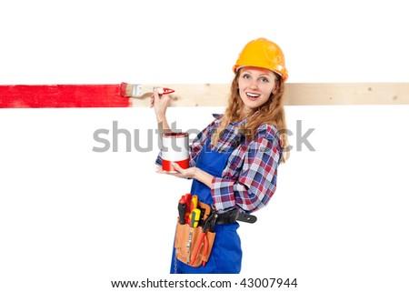 female house painter isolated on white background - stock photo