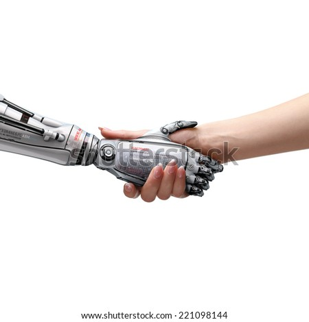female human and robot's handshake as a symbol of connection between people and artificial intillegence. Isolated image - stock photo