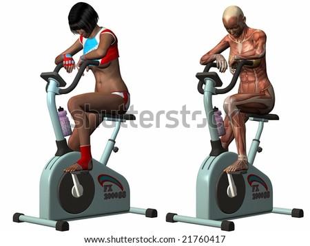 Female Human Body - Exercise Bike - stock photo