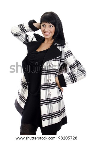 Female in autumn or winter clothes. Isolated on white. - stock photo