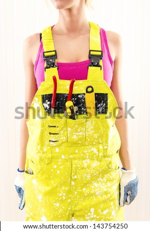 Female in coverall - stock photo