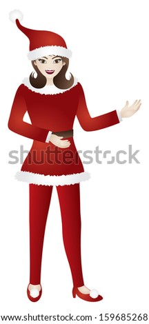Female in Red Santa Suit Standing with Presentation Gesture Pose Isolated on White Background Raster Illustration - stock photo
