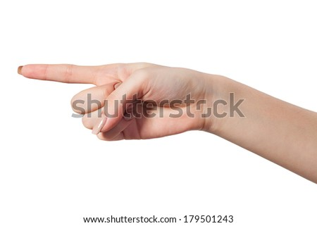 Female index finger isoalted on a white background