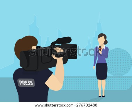 Female journalist with microphone is broadcasting live news looking to videographer - stock photo