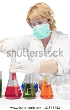 female laboratory staff dealing with test syringe. isolated over white background. vertical shot