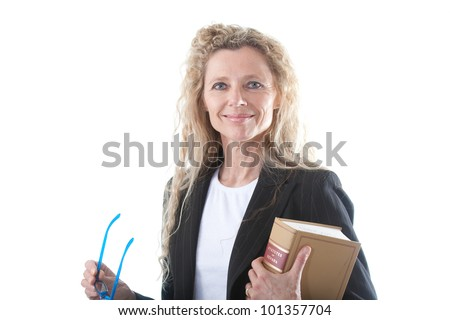 Female lawyer with glasses and law book - stock photo