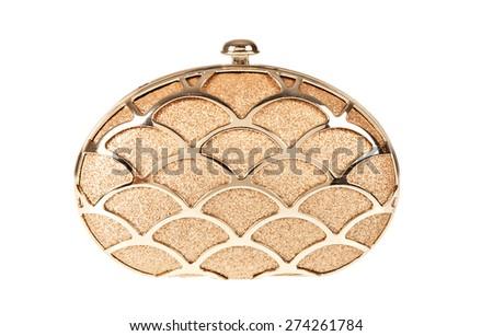 female leather bag isolated on white background. - stock photo