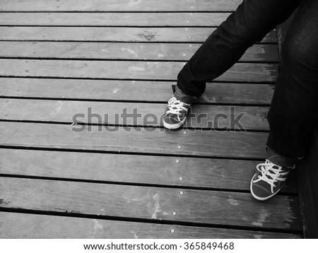 Female Legs Black & White - stock photo