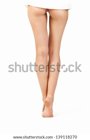 Female legs on a white background isolated, body parts - stock photo