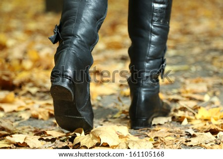 Female legs on yellow leaves background in park