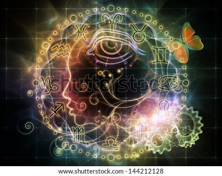 Female line profile and decorative elements on the subject of astrology, occult, spells, foretelling, magic and witchcraft - stock photo