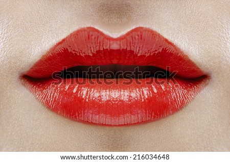 female lips close up, red color - stock photo