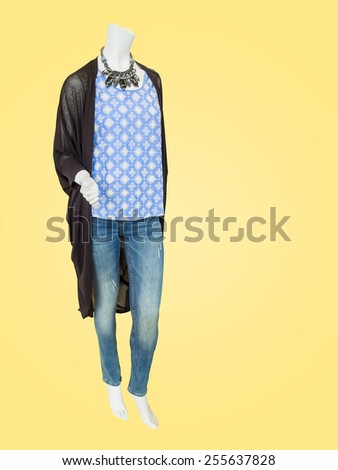 Female mannequin dressed in casual clothes. Isolated. - stock photo