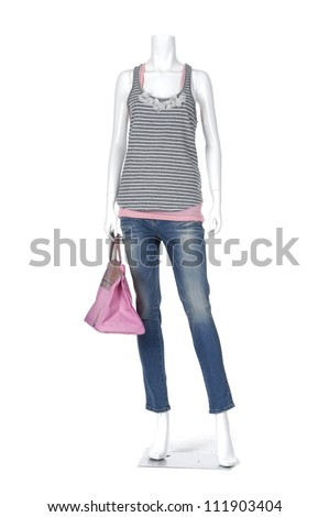 female mannequin shirt dressed in jeans with handbag isolated - stock photo