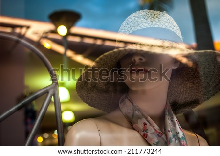 Female mannequins inside a fashion house - stock photo
