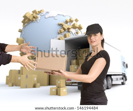 Female Messenger delivering a parcel in an international transport context - stock photo